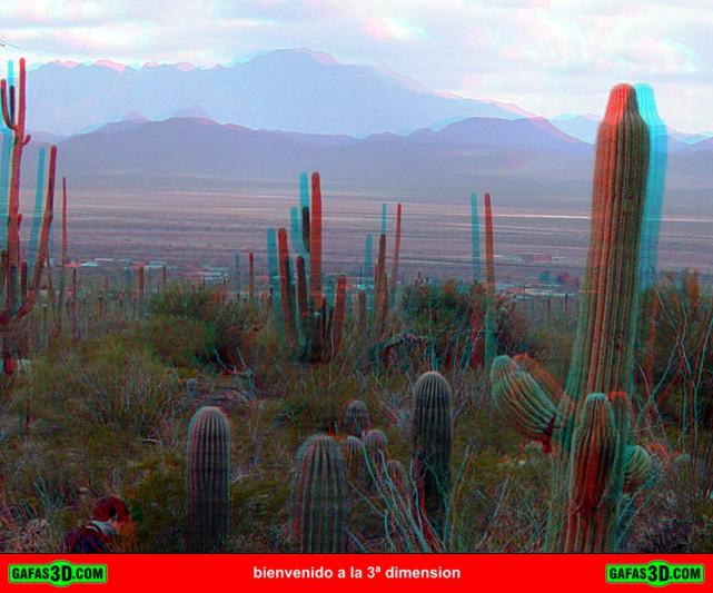 anaglifo 3d de un desierto